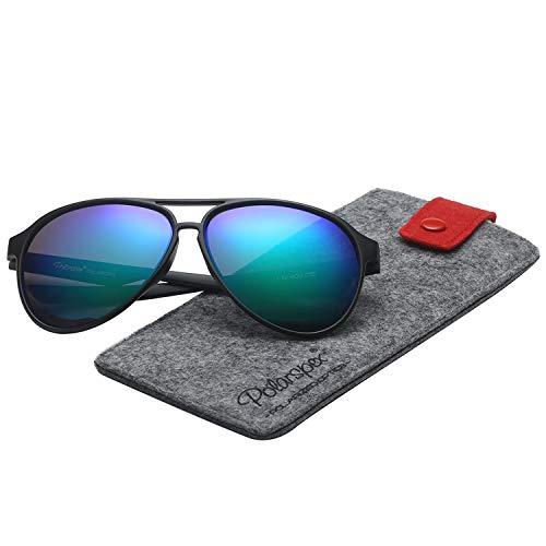 Polarspex Classic Unisex Polarized Ultra Lightweight Flexible Aviator Sunglasses (Matte Black | Polarized Kryptonite, 56) ()