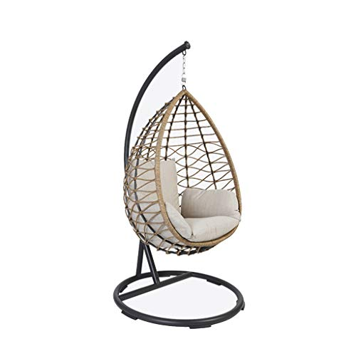 HYYTY-Y ✌ Rattan Rocking Chair Swing, Hand-Hung High Resilience Cushion Relax Chair-Terrace/Garden 606-YY (Color : Black) (Rocking Ikea Chair Wicker)