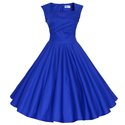 Maggie Tang 50s 60s Vintage Swing Rockabilly Picnic Party Dress Royal Blue M