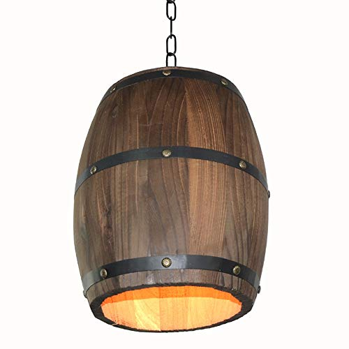 Walmeck Pendant Lights, Creative Retro Wood Wine Barrel Hanging Ceiling Decoration Lamp for Bar Restaurant Cafe (Light Wine Barrel)
