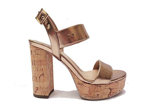 Nero Giardini 17860 sandali da donna in pelle col. Platino tacco cm. 11 plateau cm. 3 in sughero, num. 37