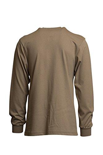 Lapco FR FRT-HJE KHA 2XL Flame Resistant Henley Tees, 100% Cotton Jersey Knit, HRC 2, NFPA 70E, 7 oz, XX-Large, Khaki by Lapco FR (Image #1)