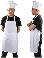 Chef Apron Set, Chef Hat and Kitchen Apron Adult Adjustable White Apron with Butcher Hat Baker Costume Kitchen Pocket Apron for Men & Women, 1 Set White
