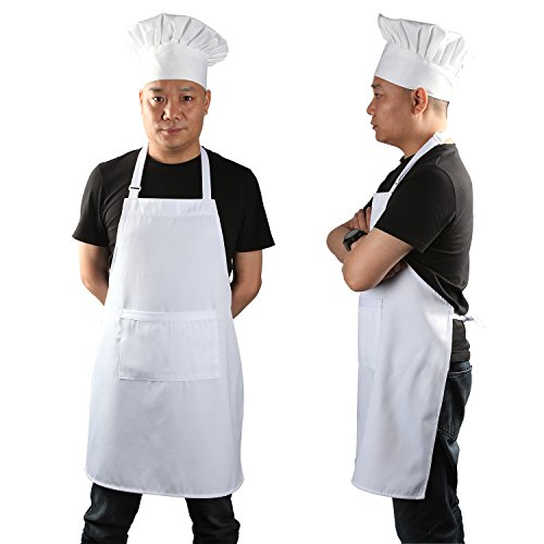 Chef Apron Set, Chef Hat and Kitchen Apron Adult Adjustable White Apron with Butcher Hat Baker Costume Kitchen Pocket Apron for Men & Women, 2 Pieces White