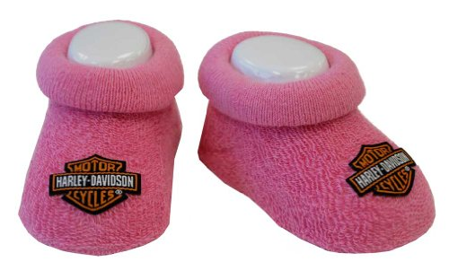 (Harley-Davidson Baby Girls' Boxed Stretch Terry Booties, Pink S9LGL20HD (0/3M))