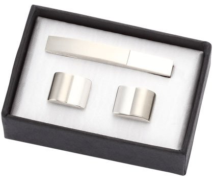 2 Tone Shiny and Matt Metal Cufflinks with Matching Tie Clip - Free - Two Tone Cufflinks Personalized