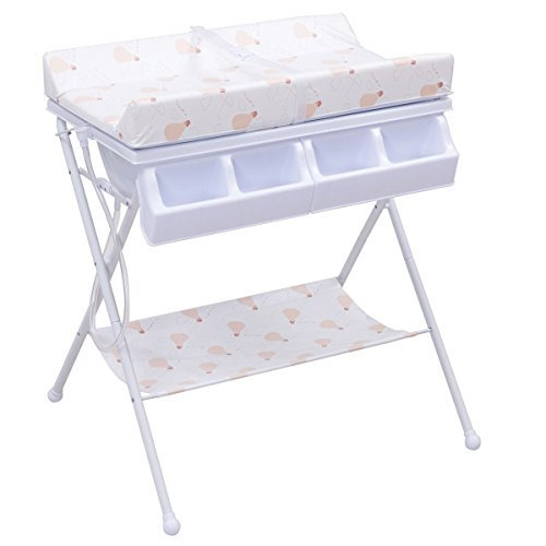 Costzon Baby Changing Table, Diaper Station Nursery Organizer, Infant Bath Table with Tube Cushion (Warm White) (Changing Tables Portable)