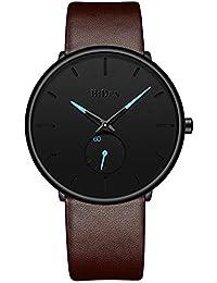 Mens Ultra-Thin Quartz Analog Wrist Watch 30M Waterproof Fashion Minimalist with Brown Leather Band