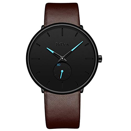 Watch Brown Leather Case - Mens Ultra-Thin Quartz Analog Wrist Watch 30M Waterproof Fashion Minimalist with Brown Leather Band