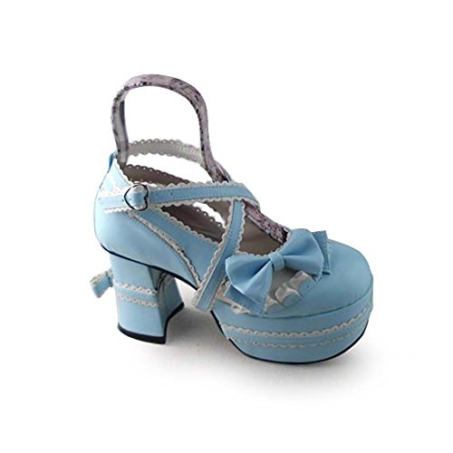 Avacostume Womens Lolita Cross Strap Ruches Mary Jane Maid Shoes Blauw