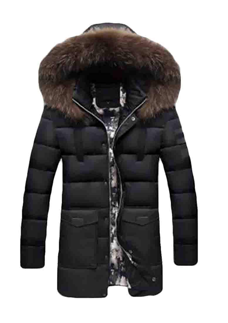 UUYUK Men All-Match Hood Juniors Mid Length Down-Filled Winter Coat