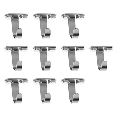 Mounting Bracket Ceiling - BCP 10pcs Stainless Steel Wardrobe Top Mounted Towel/Robe Clothes Hanging Stainless Steel Hook Hanger with Screw