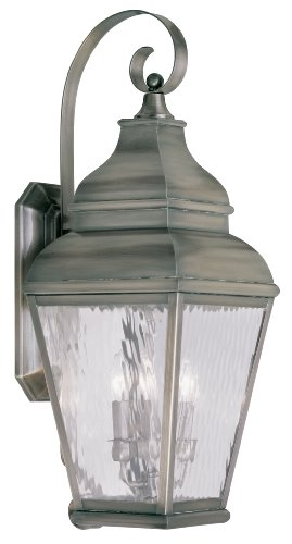 Livex Lighting 2605-29 Exeter 3-Light Outdoor Wall Lantern, Vintage Pewter