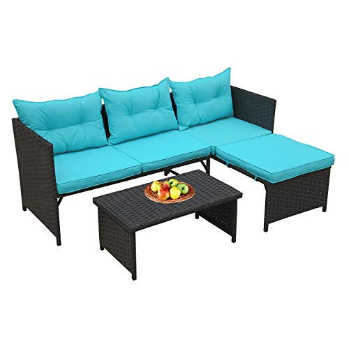 Rattaner 3-Piece Outdoor Conversation Furniture Set Patio Wicker Rattan Sofa Sectional Couch Turquoise Cushion