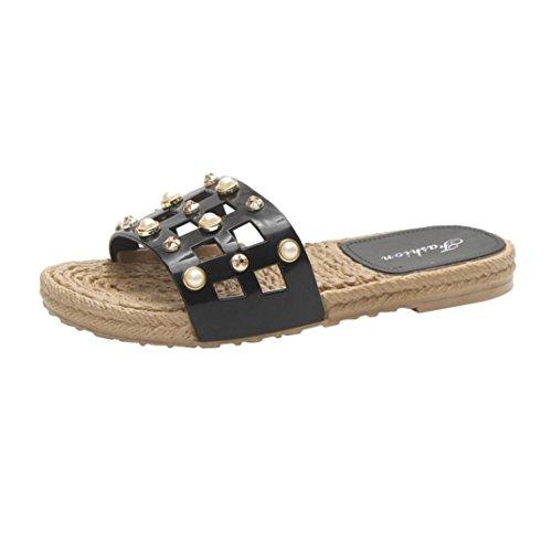 Hatop Women Summer Pearl Slippers Sandals Flip Flops Flats Beach Platform Shoes Black Yhhsjh