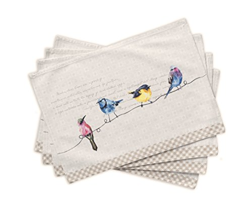 Maison d' Hermine Birdies on Wire 100% Cotton Set of 4 Placemats 13 Inch by 19 Inch - Designed in Europe. 100% Cotton and machine washable. Package includes - 4 Placemats. - placemats, kitchen-dining-room-table-linens, kitchen-dining-room - 41jOCntjtOL -