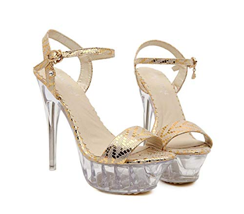 Shoes Night Club Fine SFSYDDY Sandals Crystal silvery High Waterproof Heels 14Cm Ladies Sexy Table Super 1TftT7