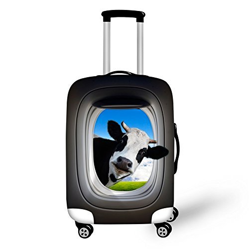 FOR U DESIGNS 22-26 Inch Cool Cow Print Personalized Spandex Travel Luggage Case Cover (Cow Print Luggage)