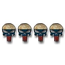 "4 PUNISHER RUSSIA 2"" Skull Vinyl Graphic Decals American Sniper Russian Flag Gun Stickers ((4) 1.5""x 2"" Decals)"
