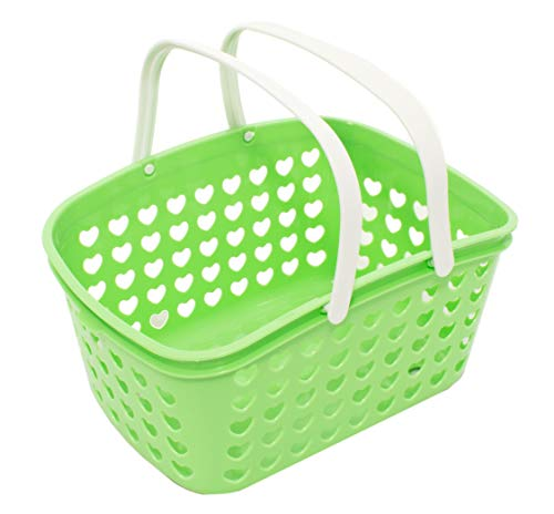 Plastic Storage Basket with Handles - Small Bin Organizer Bathroom, Kitchen, Playroom, Garden by Valenoks (Soft-Green) from Valenoks