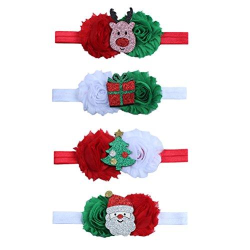 bestoyard Baby Girl Flor Diademas con árbol de Navidad Santa Clau renos Caja de Regalo adornos Pack de 4