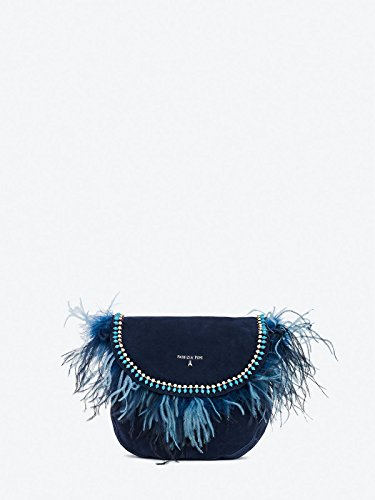 Dress Blue Crossover With Feathers Suede xZqY7UW