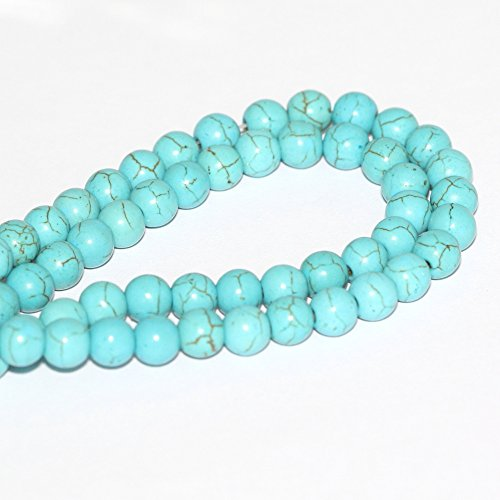 2 Strands Natural Turquoise Howlite Gemstone 8mm Round Loose Stone Beads For Jewelry Making FGA-8