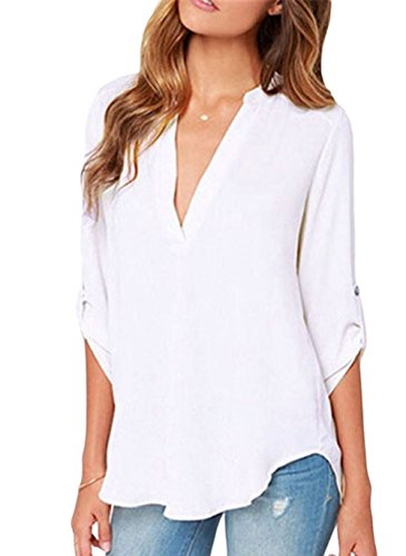LOSRLY Women's Loose Solid Chiffon Blouses V Neck Cuffed Sleeve Shirts Tops 8/10 Medium White