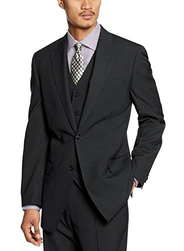Sean John Blazer Sportcoat 46 Regular 46R 2-Button Black & White Pinstripe White Pinstripe Blazer