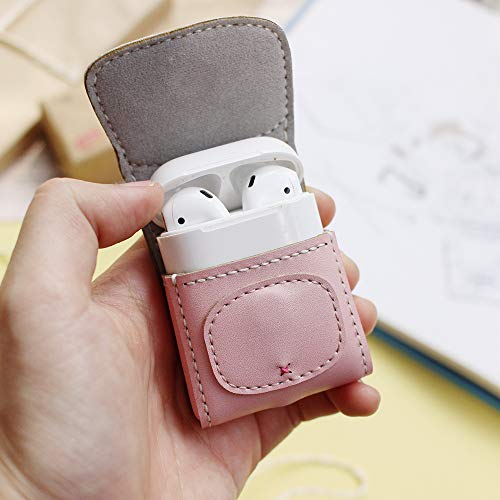 3XU Handmade Airpod Case Cute - Pink Pig - Airpods Leather Pouch Pocket - Animal Character Genuine Leather Cover - for AirPods 1/AirPods 2