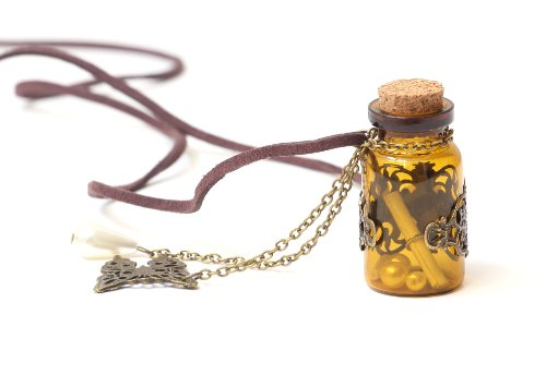 Magic Metal Wishing Bottle Necklace Corked Message in a Bottle NM07 Vintage Butterfly Daisy Pendant Fashion Jewelry]()
