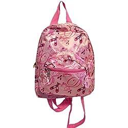 Mini Backpack Purse 11-inch, Zipper Front Pockets Teen Child (Pink Ballerina)