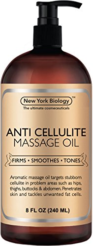 New York Biology Anti Cellulite Treatment Massage Oil - All Natural Ingredients - Infused with Essential Oils - Penetrates Skin and Targets Unwanted Fat Tissues - 8 oz