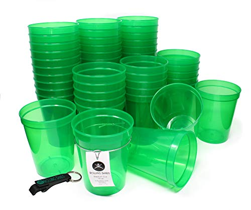 Rolling Sands 16 Ounce Reusable Plastic Stadium Cups Translucent Green, Bulk 50 Pack, Made in USA, BPA-Free Dishwasher Safe Plastic Tumblers and Bottle Opener