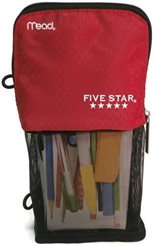 Mead Stand N Store Pencil Pouch, New Honey Comb Design (Red)]()