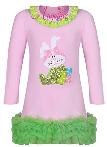 Angeline Boutique Clothing Girls Easter Bunny Ruffles Dress Pink/Green 3T/S by Angeline