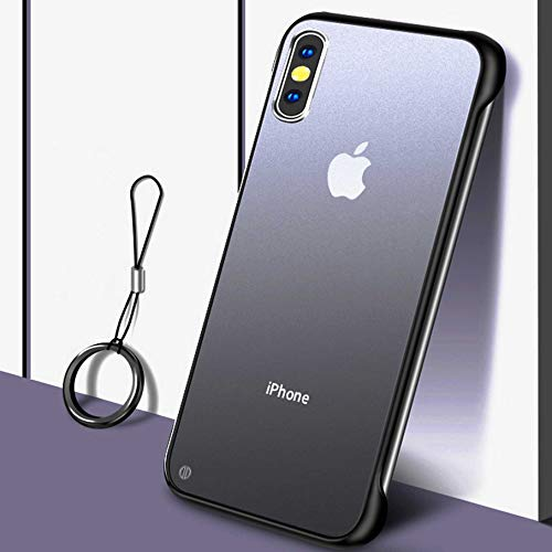 Clear Compatible with Apple iPhone Xs Max (2018) 6.5 inch Clear Case with Finger Ring Clear Nake Feel with Built-in Screen Protector Shockproof Rugged Cover (Black/Clear)