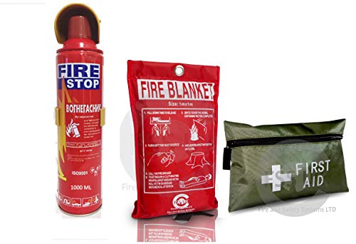 Introductory Offer on 1000ml Fire Extinguisher + 42 Pieces First Aid Kit + Fire Blanket. Ideal for Home Kitchen Taxi Caravans Boats Restaurants Workshops and Offices.