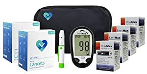 OWell EasyMax V Diabetes Blood Glucose Testing Kit, TALKING METER, Test Strips, Lancets, Lancing Device, Manual, Log Book & Carry Case
