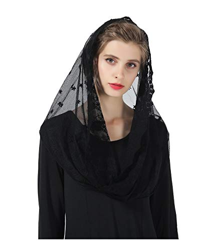 Easter Catholic Mantilla Chapel Veil Latin Mass Halloween Church Cathedral Lace Head Covering -