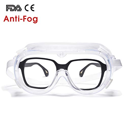 Vanlinker Safety Goggles over Glasses Anti Fog Scratch Lab Goggles Vented VL9525