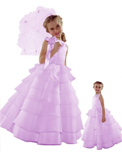 ST244 Flower Girl Wedding Layers Sleeveless Dress Baby to Teen (7, Lilac) -