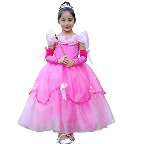 Little Big Girl Bella Costume Princess Off Shoulder Tutu Dress Deluxe Halloween Fancy Dress Up Cosplay Christmas Pageant Party Ball Gown Pink 10-11 Years]()
