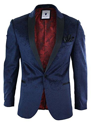 Marc Darcy Mens Velvet Paisley Blue Black Blazer Tuxedo Dinner Jacket Smart (Blue Blazer Black)