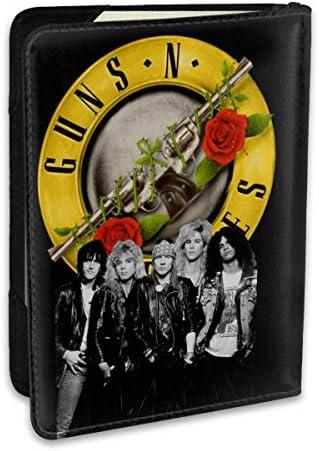 Guns N' Roses ガンズ・アンド・ローゼズ メンバーイラスト パスポートケース メンズ 男女兼用 パスポートカバー パスポート用カバー パスポートバッグ ポーチ 6.5インチ高級PUレザー 三つのカードケース 家族 国内海外旅行用品 多機能