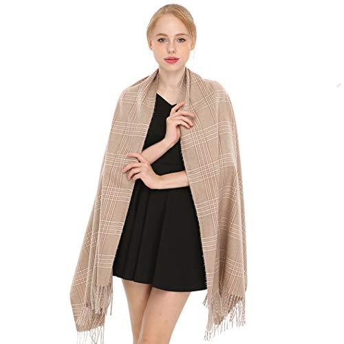 Longwu Women Soft Cashmere Wool Plaid Scarf Large Pashminas Shawl and Wrap Warm Stole Blanket-06# ()