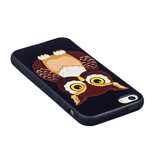 Crisant 3D Nette Eule Drucken Design weich Silikon TPU schutzhülle Hülle für Apple iPhone 5 5S / SE,Premium Handy Tasche Schutz Case Cover Crystal Bumper Schale für Apple iPhone 5 5S / SE