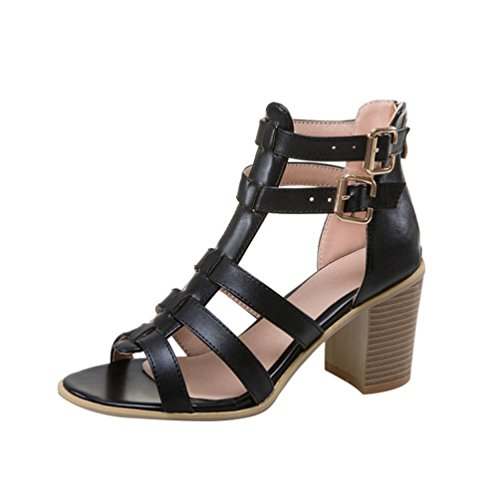 YOUJIA Women Zip Peep Toe Block Heel Buckle Roman Sandals Gladiator Shoes Black 0qTquu