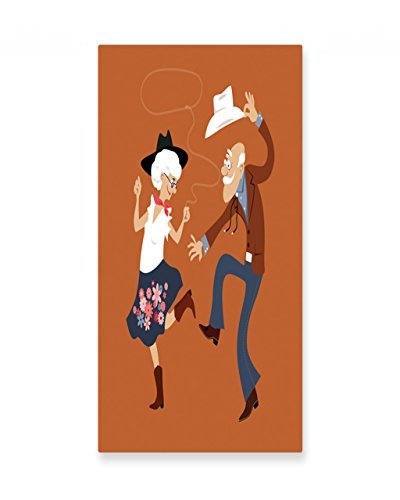 Lunarable Country Wall Art, Senior Old Couple with Western Costumes Dancing Partying Square Dance Contradance, Gloss Aluminium Modern Metal Artwork for Wall Decor, 11.6 W X 23.5 L Inches, Multicolor by Lunarable