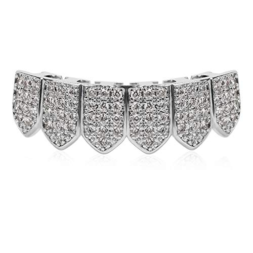 TSANLY Silver Grillz Set Macro Pave CZ White Gold Plated Iced-Out with Extra Molding Bars -